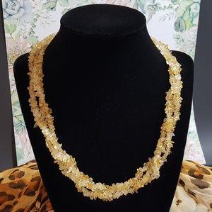 Brazilian Citrine Chips Multi Strand Necklace